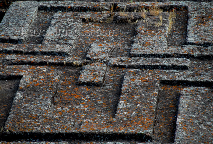 ethiopia180: Lalibela, Amhara region, Ethiopia: Bet Giyorgis rock-hewn church - center of the roof, a Greek cross - photo by M.Torres - (c) Travel-Images.com - Stock Photography agency - Image Bank