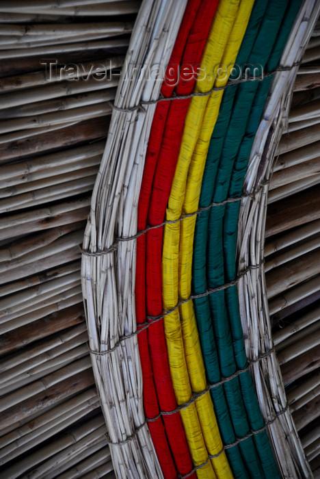 ethiopia196: Lalibela, Amhara region, Ethiopia: Ethiopian colours - cane roof - restaurant at the Jerusalem Guesthouse - photo by M.Torres - (c) Travel-Images.com - Stock Photography agency - Image Bank