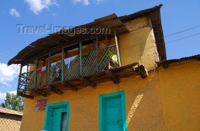 ethiopia209: Gondar, Amhara Region, Ethiopia: colourful house with fragile balcony  - photo by M.Torres - (c) Travel-Images.com - Stock Photography agency - Image Bank
