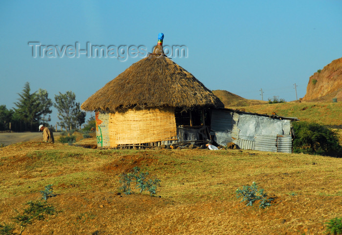 ethiopia242: Gondar, Amhara Region, Ethiopia:hut with thatched and zinc annex - photo by M.Torres - (c) Travel-Images.com - Stock Photography agency - Image Bank