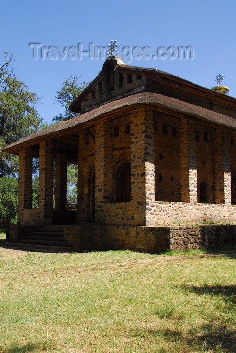 ethiopia246: Gondar, Amhara Region, Ethiopia: Debre Berham Selassie church - front porch - photo by M.Torres - (c) Travel-Images.com - Stock Photography agency - Image Bank