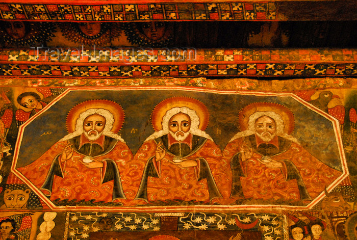 ethiopia247: Gondar, Amhara Region, Ethiopia: Debre Berham Selassie church - Trinity - art inspired by the works of Haile Meskel - north wall - holy of holies - photo by M.Torres - (c) Travel-Images.com - Stock Photography agency - Image Bank