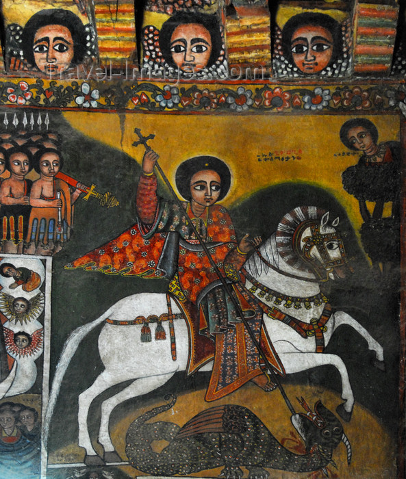 ethiopia253: Gondar, Amhara Region, Ethiopia: Debre Berham Selassie church - mytheme of St George and the Dragon - St George in red on a prancing white horse - photo by M.Torres - (c) Travel-Images.com - Stock Photography agency - Image Bank
