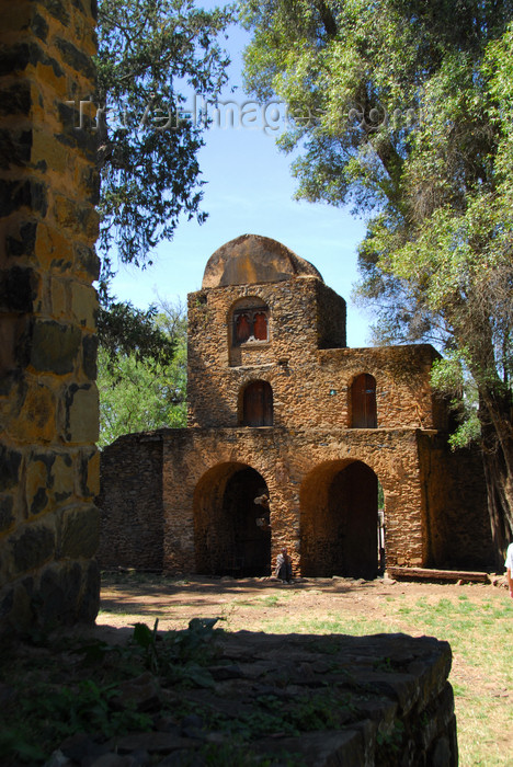 ethiopia258: Gondar, Amhara Region, Ethiopia: Debre Berham Selassie church - entrance gate, in the shape of a lion, with the tower also representing Jesus - photo by M.Torres - (c) Travel-Images.com - Stock Photography agency - Image Bank