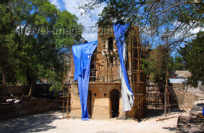 ethiopia266: Gondar, Amhara Region, Ethiopia: Fasiladas' bath - main building undergoing restoration - the pool is filed for the Timkat festival -  photo by M.Torres - (c) Travel-Images.com - Stock Photography agency - Image Bank