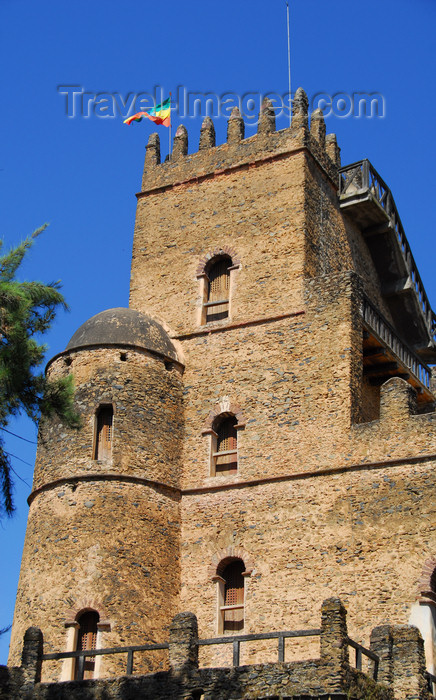 ethiopia275: Gondar, Amhara Region, Ethiopia: Royal Enclosure - Fasiladas' Palace - round and square towers - photo by M.Torres - (c) Travel-Images.com - Stock Photography agency - Image Bank