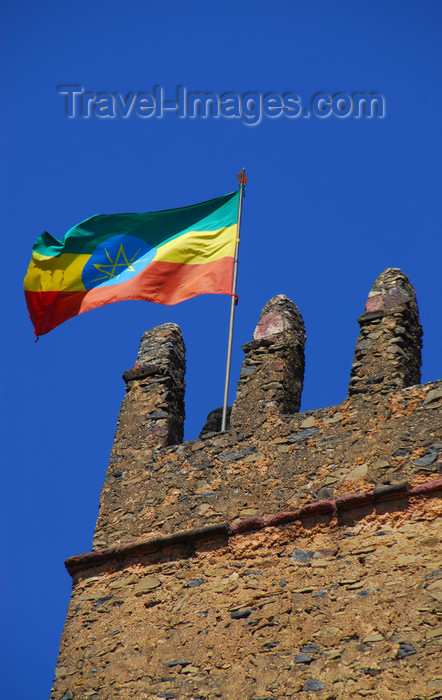 ethiopia276: Gondar, Amhara Region, Ethiopia: Royal Enclosure - Fasiladas' Palace - Ethiopian flag on the central tower - photo by M.Torres - (c) Travel-Images.com - Stock Photography agency - Image Bank