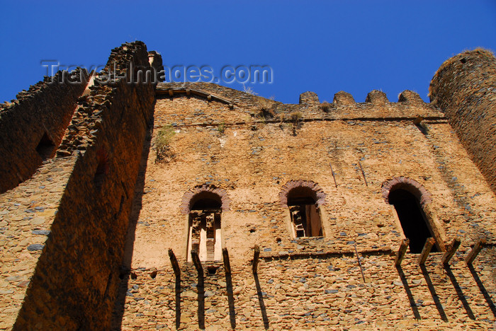 ethiopia285: Gondar, Amhara Region, Ethiopia: Royal Enclosure - Iyasu palace - beams of ruined balconies - photo by M.Torres - (c) Travel-Images.com - Stock Photography agency - Image Bank
