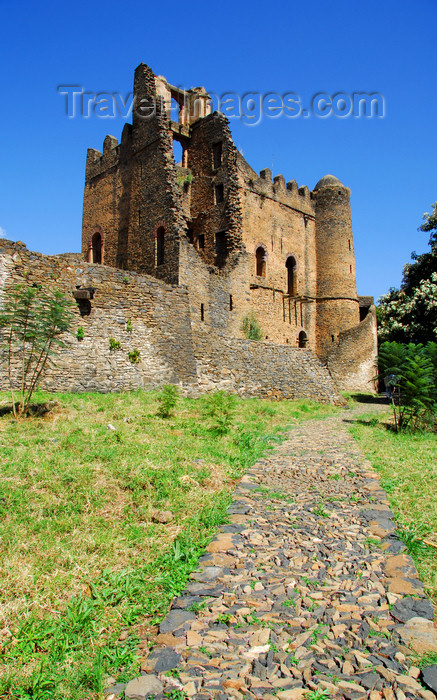 ethiopia287: Gondar, Amhara Region, Ethiopia: Royal Enclosure - Iyasu palace - path - photo by M.Torres - (c) Travel-Images.com - Stock Photography agency - Image Bank