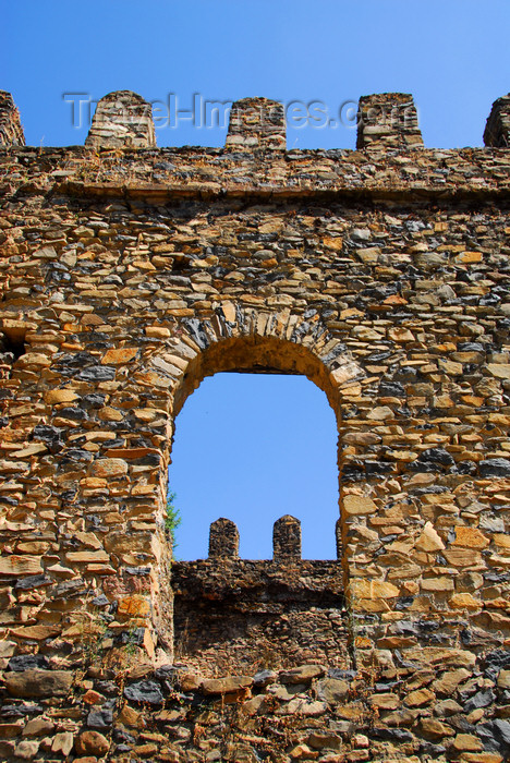 ethiopia297: Gondar, Amhara Region, Ethiopia: Royal Enclosure - Emperor Dawit's hall or castle - arched window - photo by M.Torres - (c) Travel-Images.com - Stock Photography agency - Image Bank