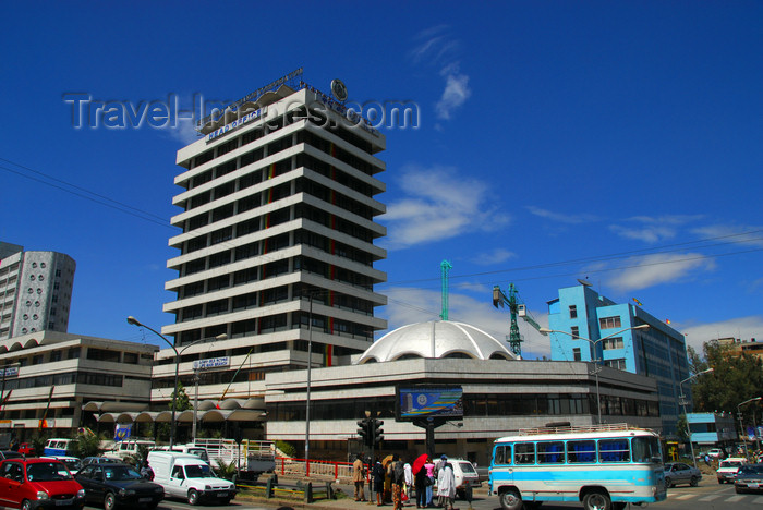 ethiopia30: Addis Ababa, Ethiopia: Ethiopian Insurance Co. - Ras Mekonen av - corner Gambia st - street scene - photo by M.Torres - (c) Travel-Images.com - Stock Photography agency - Image Bank
