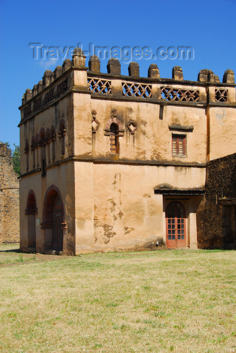 ethiopia302: Gondar, Amhara Region, Ethiopia: Royal Enclosure - Yohannes Library - square battlemented building covered with beige plaster - photo by M.Torres - (c) Travel-Images.com - Stock Photography agency - Image Bank