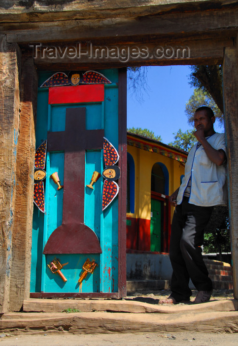 ethiopia317: Gondar, Amhara Region, Ethiopia: Royal Enclosure - Gemjabet Maryam church - man at the gate - photo by M.Torres - (c) Travel-Images.com - Stock Photography agency - Image Bank