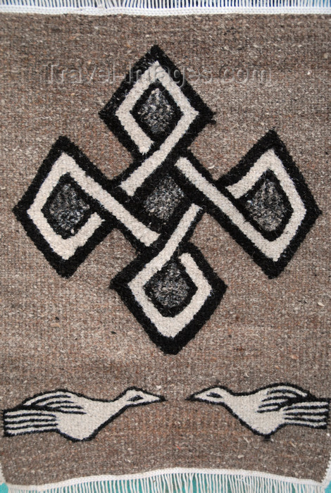 ethiopia358: Axum - Mehakelegnaw Zone, Tigray Region: cross and doves - Tigray textile   - photo by M.Torres - (c) Travel-Images.com - Stock Photography agency - Image Bank