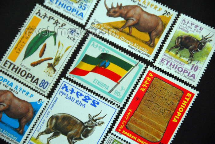 ethiopia361: Axum - Mehakelegnaw Zone, Tigray Region: assorted Ethiopian stamps - photo by M.Torres - (c) Travel-Images.com - Stock Photography agency - Image Bank