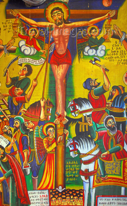 ethiopia387: Axum - Mehakelegnaw Zone, Tigray Region: Church of St Mary of Zion - Jesus' crucifixion - photo by M.Torres - (c) Travel-Images.com - Stock Photography agency - Image Bank