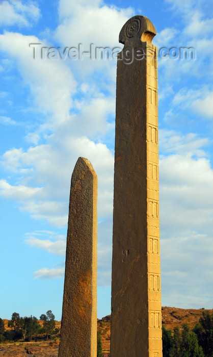 ethiopia394: Axum - Mehakelegnaw Zone, Tigray Region: - Northern stelae field - King Ezana and neighbouring stele - photo by M.Torres - (c) Travel-Images.com - Stock Photography agency - Image Bank