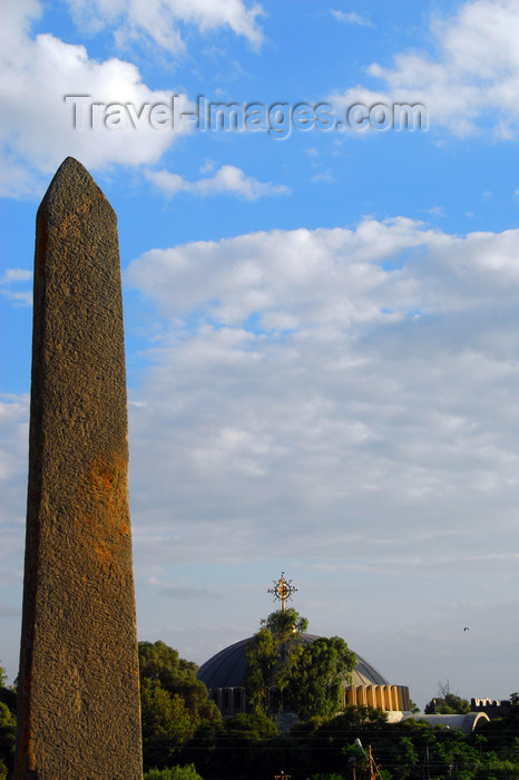 ethiopia395: Axum - Mehakelegnaw Zone, Tigray Region: stele and the dome of the Church of St Mary of Zion - Northern stelae field - photo by M.Torres - (c) Travel-Images.com - Stock Photography agency - Image Bank