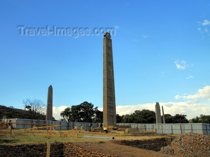 ethiopia398: Axum - Mehakelegnaw Zone, Tigray Region: Northern stelae field - King Ezana stele and construction site fence - photo by M.Torres - (c) Travel-Images.com - Stock Photography agency - Image Bank
