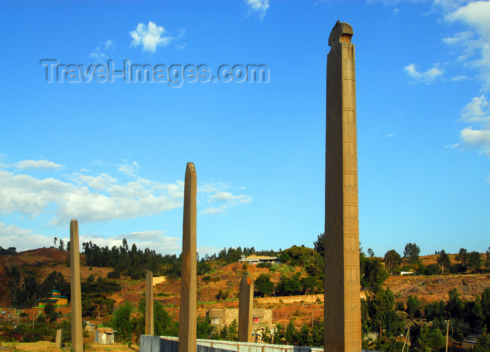 ethiopia402: Axum - Mehakelegnaw Zone, Tigray Region: - Northern stelae field - landscape - King Ezana and neighbouring stelae - photo by M.Torres - (c) Travel-Images.com - Stock Photography agency - Image Bank