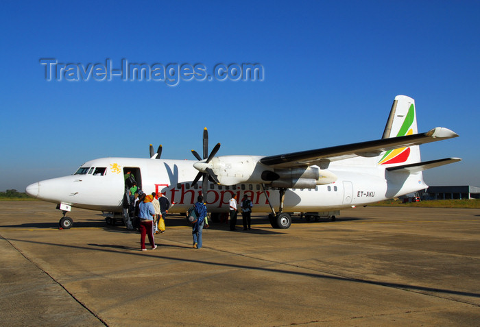ethiopia412: Bahir Dar, Amhara, Ethiopia: Bahir Dar Ginbot 20 airport - Ethiopian Airlines Fokker 50 - F-59, ET-AKU (cn 20333) - photo by M.Torres - (c) Travel-Images.com - Stock Photography agency - Image Bank