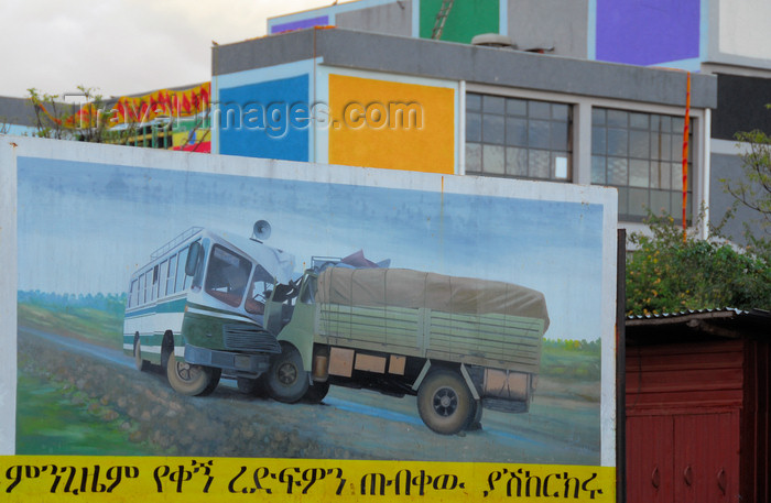ethiopia414: Bahir Dar, Amhara, Ethiopia:  road safey campaign - billboard - truck and bus - photo by M.Torres - (c) Travel-Images.com - Stock Photography agency - Image Bank