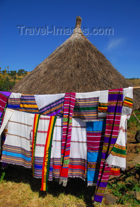 ethiopia444: Tis Issat, Amhara, Ethiopia: Ethiopian scarves and village hut - photo by M.Torres - (c) Travel-Images.com - Stock Photography agency - Image Bank