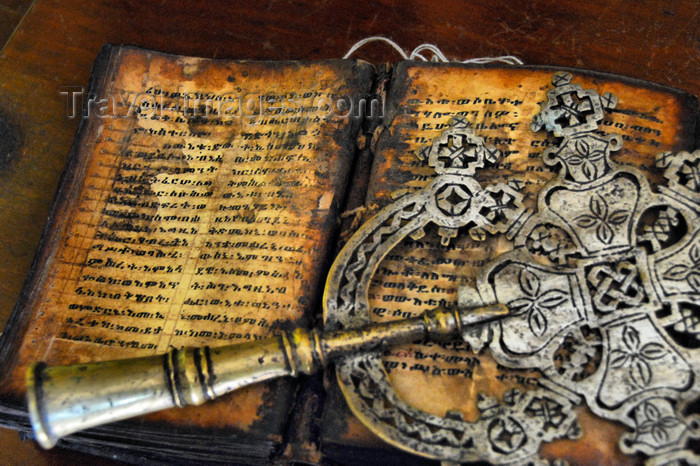 ethiopia450: Lake Tana, Amhara, Ethiopia: Entos Eyesu Monastery - cross and old book - photo by M.Torres - (c) Travel-Images.com - Stock Photography agency - Image Bank