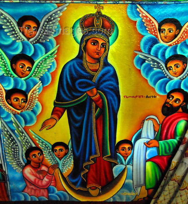 ethiopia454: Lake Tana, Amhara, Ethiopia: Entos Eyesu Monastery - Virgin Mary surrounded by angels - photo by M.Torres - (c) Travel-Images.com - Stock Photography agency - Image Bank