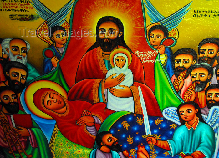 ethiopia455: Lake Tana, Amhara, Ethiopia: Entos Eyesu Monastery - nativity scene - mural - photo by M.Torres - (c) Travel-Images.com - Stock Photography agency - Image Bank