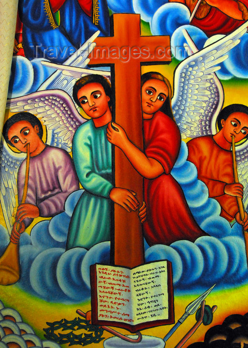 ethiopia456: Lake Tana, Amhara, Ethiopia: Entos Eyesu Monastery - angels hold the cross - photo by M.Torres - (c) Travel-Images.com - Stock Photography agency - Image Bank
