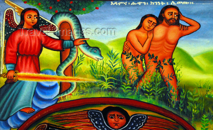 ethiopia457: Lake Tana, Amhara, Ethiopia: Entos Eyesu Monastery - Adam and Eve are expeled from Eden - serpent and cherubim with a flaming sword - mural - photo by M.Torres - (c) Travel-Images.com - Stock Photography agency - Image Bank