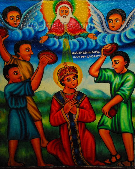 ethiopia464: Lake Tana, Amhara, Ethiopia: Entos Eyesu Monastery - Saint Stephen being stoned to death for his faith - protomartyr - mural - photo by M.Torres - (c) Travel-Images.com - Stock Photography agency - Image Bank