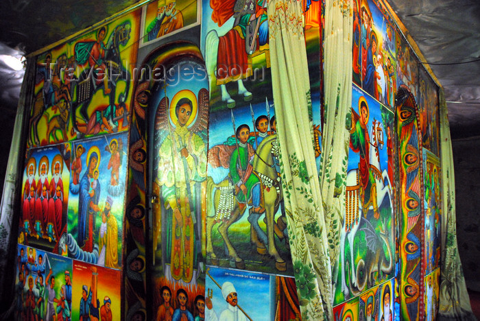 ethiopia468: Lake Tana, Amhara, Ethiopia: Entos Eyesu Monastery - murals around the maqdas, the holy of holies - photo by M.Torres - (c) Travel-Images.com - Stock Photography agency - Image Bank