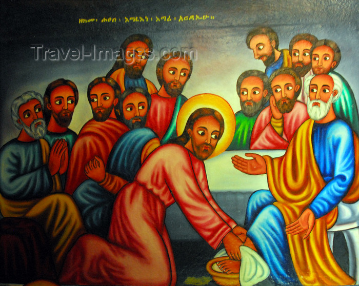 ethiopia469: Lake Tana, Amhara, Ethiopia: Entos Eyesu Monastery - Jesus washing the disciples feet to teach them service and humility - photo by M.Torres - (c) Travel-Images.com - Stock Photography agency - Image Bank