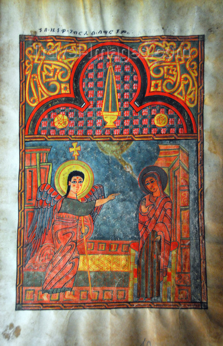 ethiopia480: Lake Tana, Amhara, Ethiopia: Kebran Gabriel Monastery - Annunciation - Mary and the archangel Gabriel - illuminated manuscript - ancient religious book - photo by M.Torres  - (c) Travel-Images.com - Stock Photography agency - Image Bank