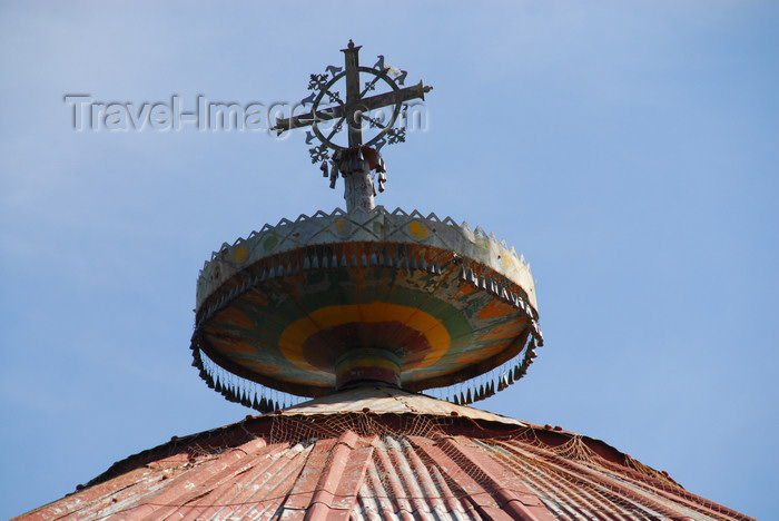 ethiopia489: Lake Tana, Amhara, Ethiopia: Kebran Gabriel Monastery - cross on the roof top - photo by M.Torres  - (c) Travel-Images.com - Stock Photography agency - Image Bank
