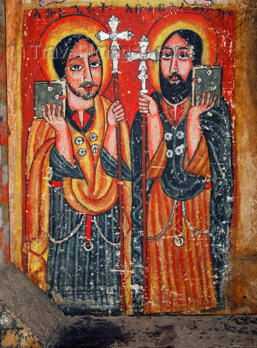 ethiopia494: Lake Tana, Amhara, Ethiopia: Kebran Gabriel Monastery - saints - mural - photo by M.Torres  - (c) Travel-Images.com - Stock Photography agency - Image Bank