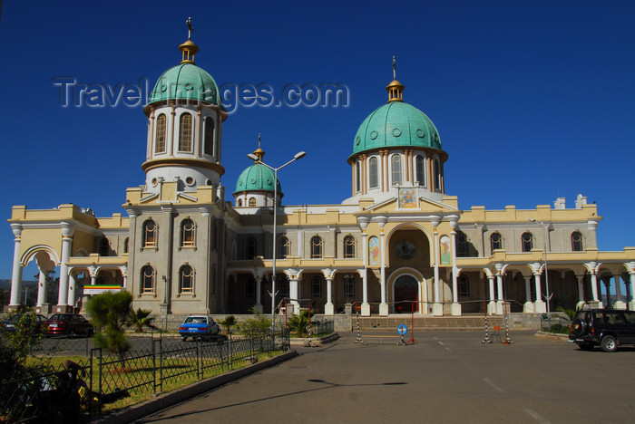 ethiopia50: Addis Ababa, Ethiopia: Bole Medhane Alem Cathedral - facade facing Cameroon street - photo by M.Torres - (c) Travel-Images.com - Stock Photography agency - Image Bank