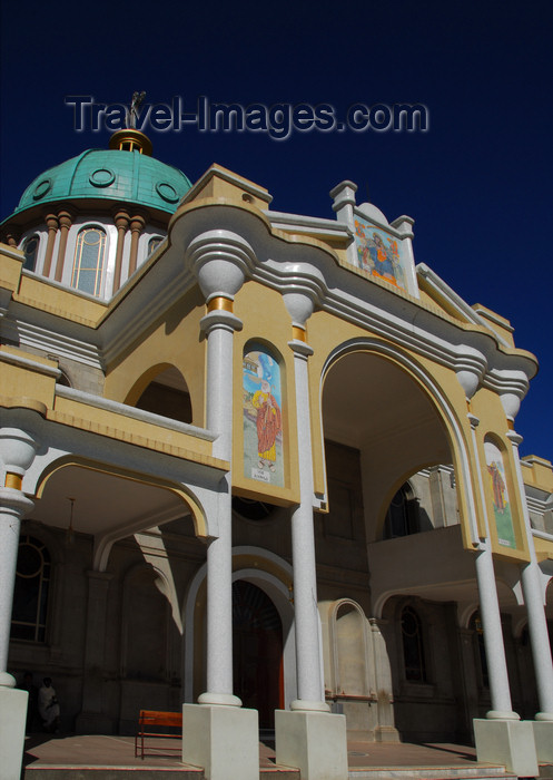 ethiopia60: Addis Ababa, Ethiopia: Bole Medhane Alem Cathedral - dome and SW entrance - photo by M.Torres - (c) Travel-Images.com - Stock Photography agency - Image Bank