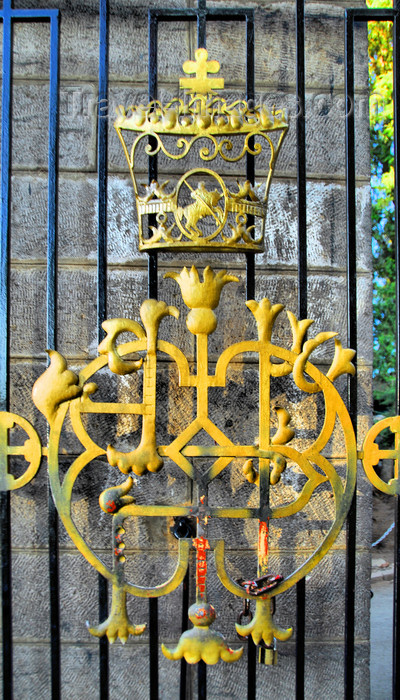 ethiopia62: Addis Ababa, Ethiopia: Holy Trinity Cathedral - imperial symbols - main gate - photo by M.Torres - (c) Travel-Images.com - Stock Photography agency - Image Bank