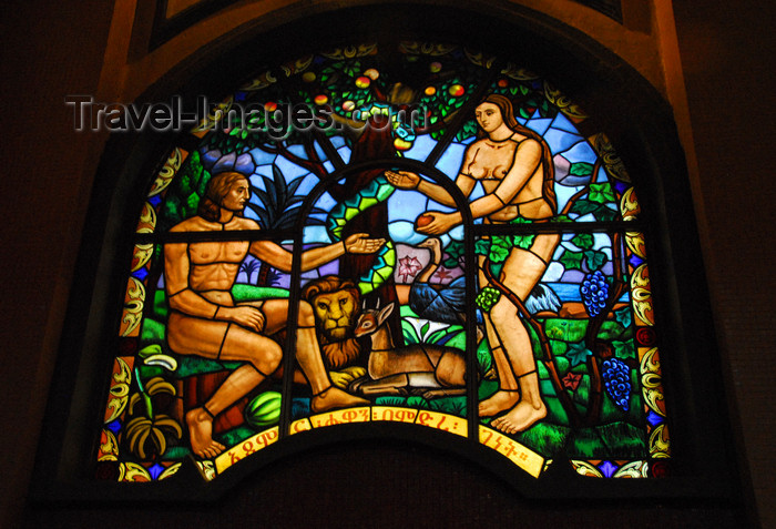 ethiopia74: Addis Ababa, Ethiopia: Holy Trinity Cathedral - stained glass - paradise - Adam, Eve and the serpent - photo by M.Torres - (c) Travel-Images.com - Stock Photography agency - Image Bank