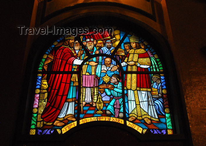 ethiopia75: Addis Ababa, Ethiopia: Holy Trinity Cathedral - stained glass - gifts for the king- photo by M.Torres - (c) Travel-Images.com - Stock Photography agency - Image Bank