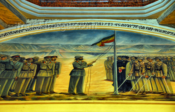 ethiopia78: Addis Ababa, Ethiopia: Holy Trinity Cathedral - mural - emperor Haile Selassie raises the Ethipian flag - photo by M.Torres - (c) Travel-Images.com - Stock Photography agency - Image Bank
