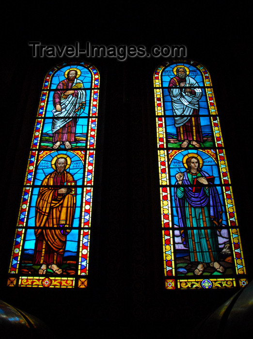 ethiopia79: Addis Ababa, Ethiopia: Holy Trinity Cathedral - twin stained glass windows - saints - photo by M.Torres - (c) Travel-Images.com - Stock Photography agency - Image Bank