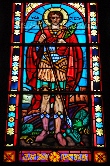 ethiopia81: Addis Ababa, Ethiopia: Holy Trinity Cathedral - stained glass - St George - photo by M.Torres - (c) Travel-Images.com - Stock Photography agency - Image Bank