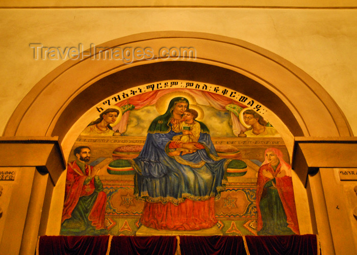 ethiopia82: Addis Ababa, Ethiopia: Holy Trinity Cathedral - the Virgin, Jesus and the imperial family - photo by M.Torres - (c) Travel-Images.com - Stock Photography agency - Image Bank