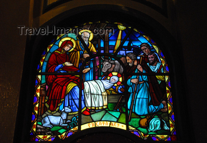 ethiopia83: Addis Ababa, Ethiopia: Holy Trinity Cathedral - stained glass - Nativity of Jesus - photo by M.Torres - (c) Travel-Images.com - Stock Photography agency - Image Bank