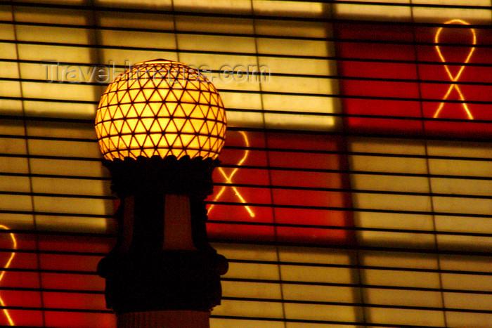 eusk54: Donostia-San Sebastián, Gipuzkoa province, Euskadi: Kursaal façade and lamp - nocturnal - architect Rafael Moneo - Paseo de Zurriola - photo by J.Zurutuza - (c) Travel-Images.com - Stock Photography agency - Image Bank