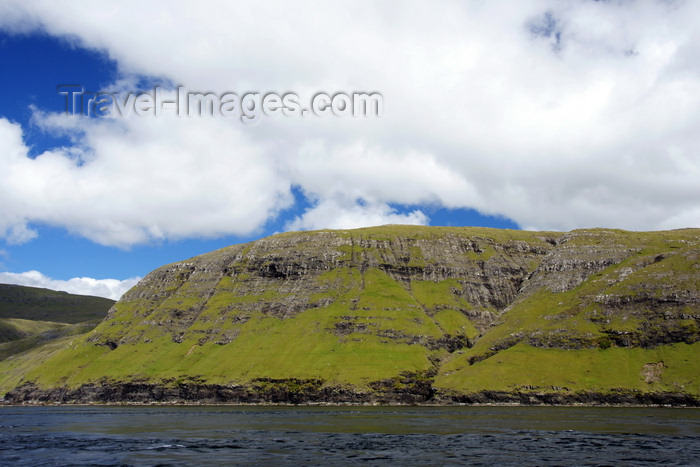 faeroe101: Vestmannasund sound, Streymoy island, Faroes: cliffs - the sound separates Streymoy from Vágar island - a tunnel runds under Vestmannasund - photo by A.Ferrari - (c) Travel-Images.com - Stock Photography agency - Image Bank